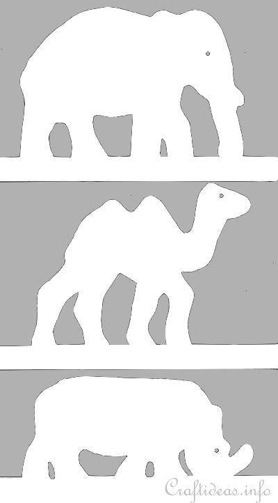 templates of african animal silhouettes elephant camel and rhinoceros