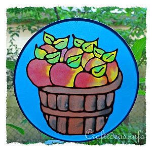 Silk Hoop Window Decoration - Apples in a Basket