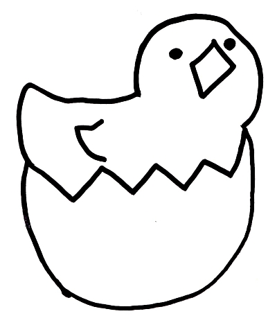 Free Spring Coloring Book Page Or Craft Pattern Hatching Chick