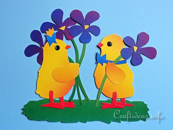 Spring Chicks Paper Piecing Window Decoration