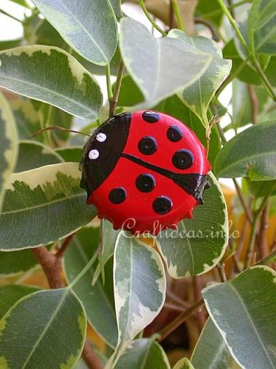 Recycling Craft For Kids Bottle Cap Lady Bug