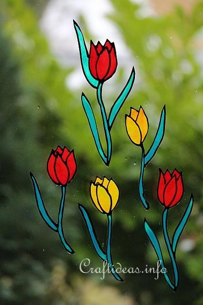 Free Spring Craft Project Glass Paint Tulips Window Clings