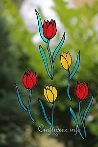 Spring Craft Ideas - Glass Cling Tulips