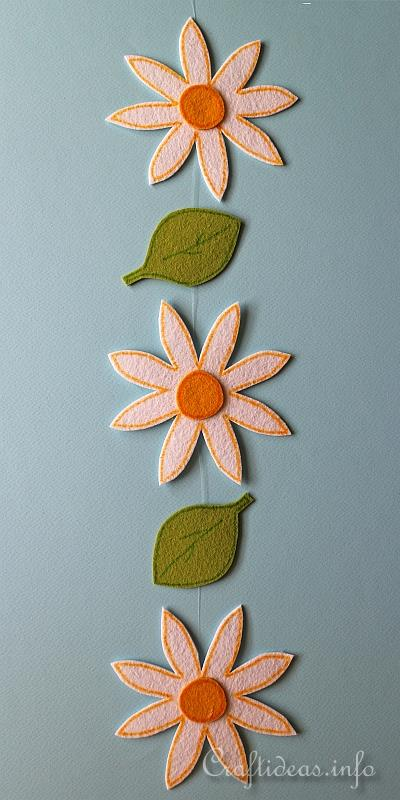 Spring Craft Project - Felt Daisy and Leaf Garland 2