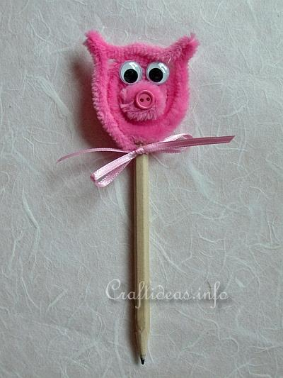 Spring Craft for Kids - Cute Chenille Pig Pencil Pal Topper