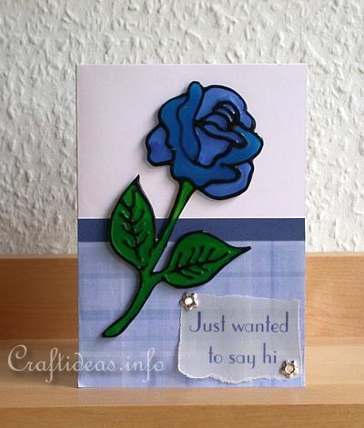 Craft a greeting card for spring blue rose spring greeting card blue rose just wanted to say hi m4hsunfo