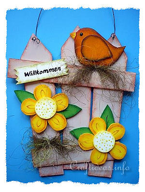 Spring Wood Craft - Fence with Bird and Flowers