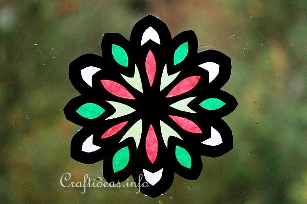 Christmas Craft Stained Glass Paper Snowflake Window