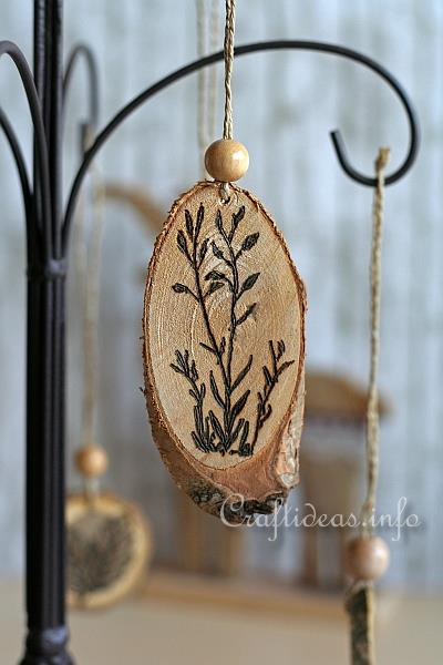 Stamping and Wood Burning on Wood Slices - Ornaments 1