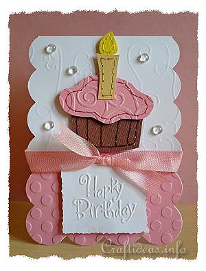 birthday card to craft  stitched cupcake birthday card, Birthday card