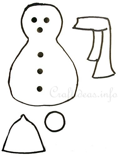 Christmas And Winter Craft Templates  Stitched Paper Snowman Template