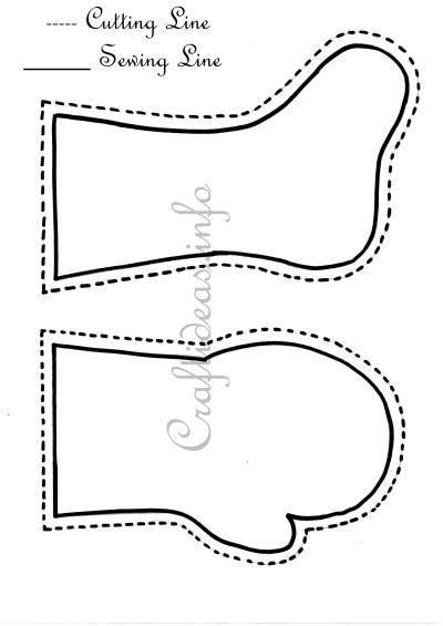 Christmas Sewing - Stocking and Mitten Templates