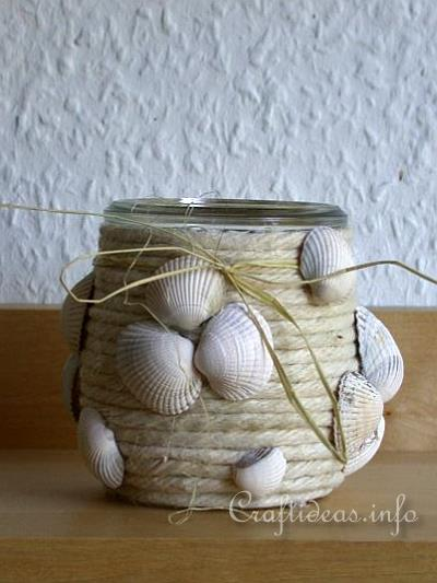 Easy Summer Craft Project Seashell Votive Candle Glass