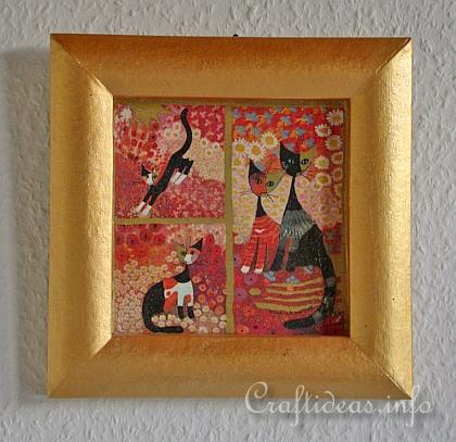 Summer Craft Project - Decorated Paper Mach� Frame with Cats Motif