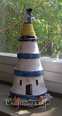 Summer Craft for Kids - Clay Pot Lighthouse Craft