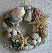 Summer Nature Craft - Natural Wreath with Maritime Motifs