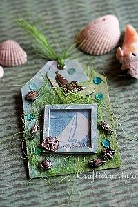 Summer Paper Craft - Gift Tag in Blue and Green
