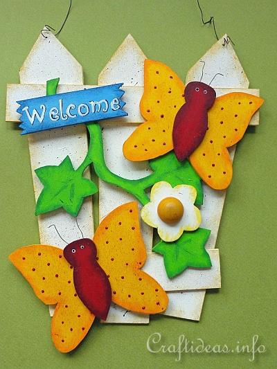 Summer Wood Crafts Welcome Sign Fence With Butterflies