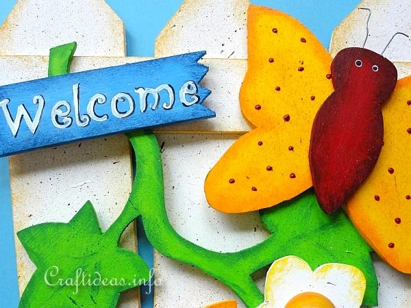 Summer Wood Craft - Door Sign - Fence with Butterflies 2