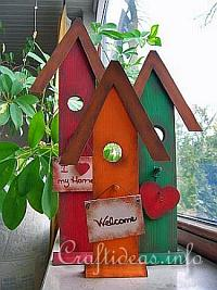 Summer Wood Craft Idea - Wooden Country Birdhouses