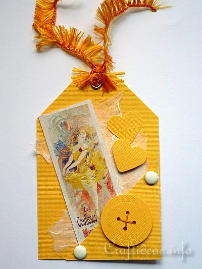 Tag Craft - Yellow Ballerina Dancer Gift Tag