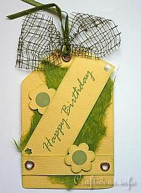 Tag Craft - Yellow and Green Happy Birthday Tag