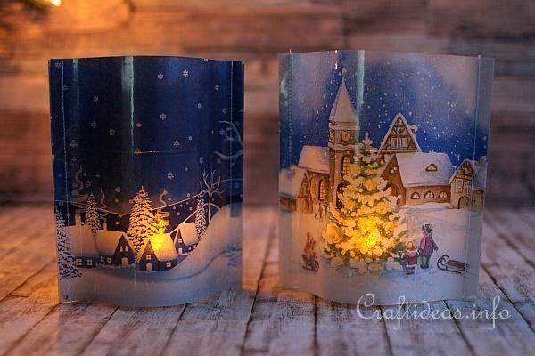 Tea Light Covers With Winter Scenes