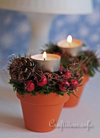 Terracotta Pots - Christmas Tea Light Holders