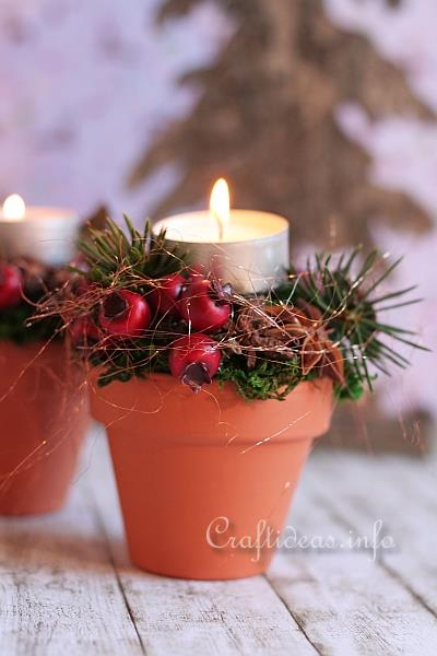 Terracotta Pots - Christmas Tea Light Holders 2