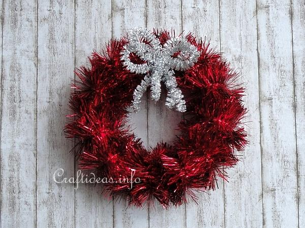 Christmas craft tinsel garland wreath