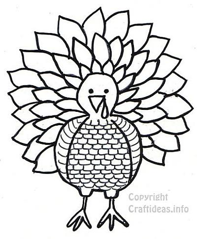 Free Thanksgiving Turkey Coloring Book Page / Craft Pattern