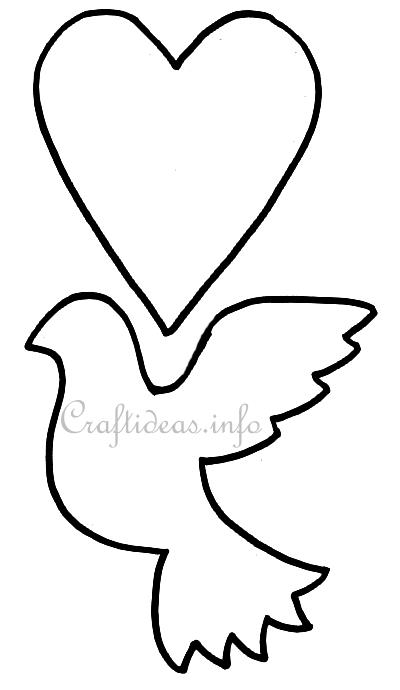 Free wedding craft template or pattern turtledove and heart for Turtle dove template