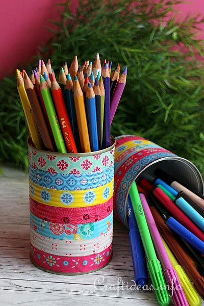 Upcycling Craft - Colorful Can Pencil Holders 1