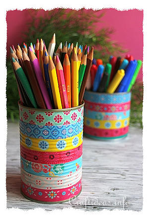Upcycling Craft - Colorful Can Pencil Holders