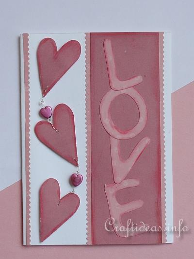 Valentine's Day Card - Love Card with Hanging Hearts