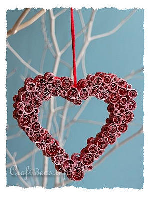 Valentine's Day Craft - Quilled Paper Heart Decoration