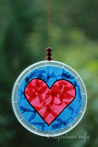 valentine s day craft for kids upcycled lid heart suncatcher