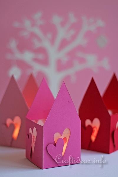 Valentine S Day Craft Romantic Paper Tea Light Houses
