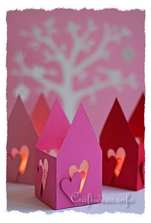 Jour papier Tea Light House Saint-Valentin
