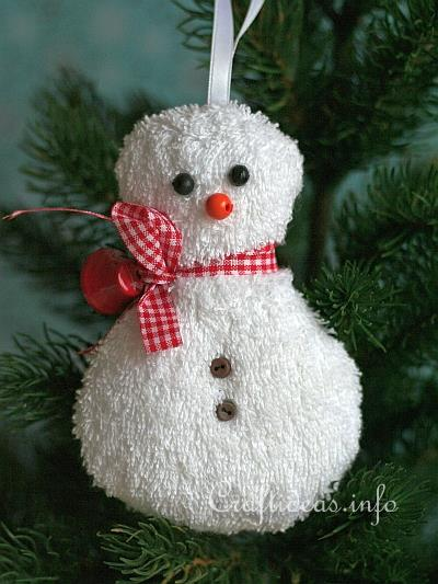 Free Fabric Christmas Craft Project Washcloth Snowman