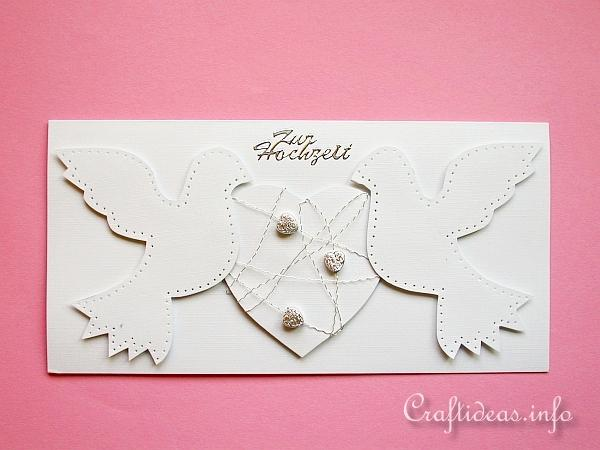 Wedding Card With Doves and Heart