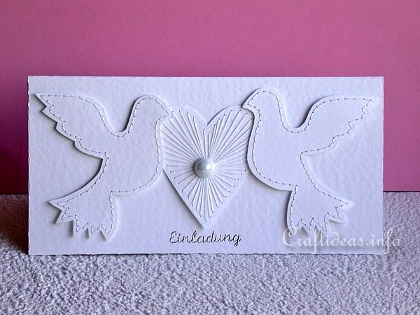 Wedding Card or Invitation with Doves and Heart b