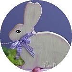 White Wooden Easter Bunny