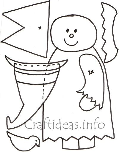 free halloween craft pattern or template for a witch