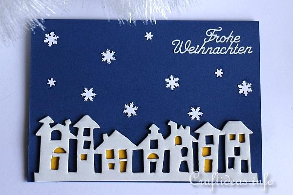 Winter Night Christmas Card with Snowflakes