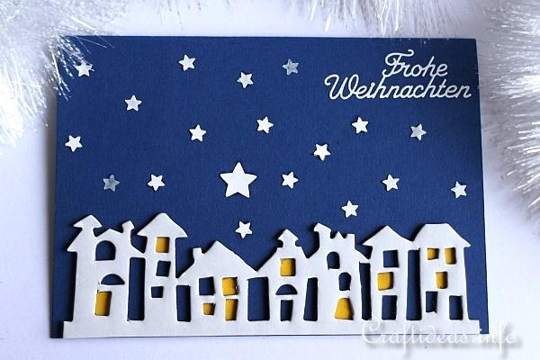 Winter Night Christmas Card with Stars