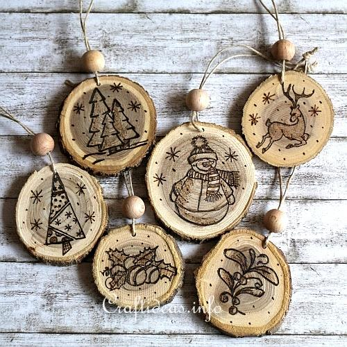 wood burned christmas ornaments 1 - Wood Craft Ideas