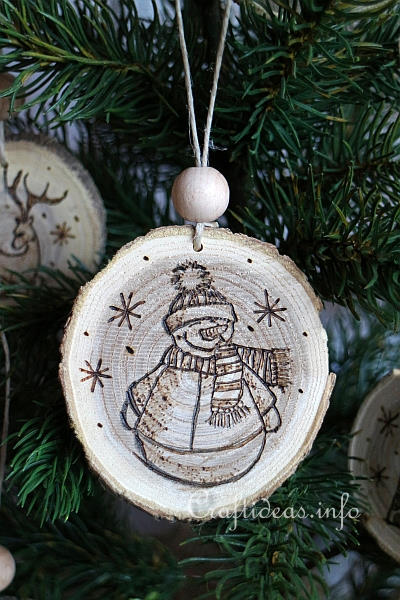 Wood Crafts For Christmas Burned Ornaments From Wooden Branch Slices