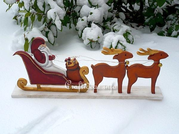 Free Woodcraft For Christmas Santa With Sleigh And Reindeer
