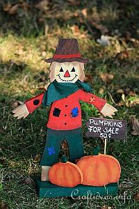 Wood Craft for Fall and Halloween - Wooden Scarecrow Shelf Decoration